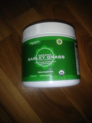 Organic barley grass juice powder. Never opened. Sells on amazon for 23$