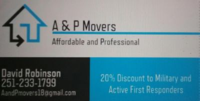 A & P Movers 20% Discount to all Military and First Responders