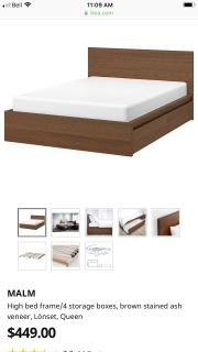 Malm Queen Storage Bed ( 4 drawers)