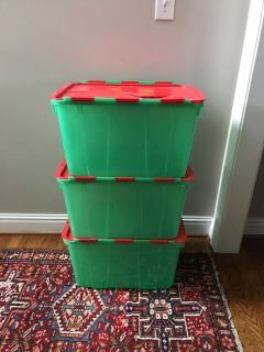 Three Christmas Storage Containers