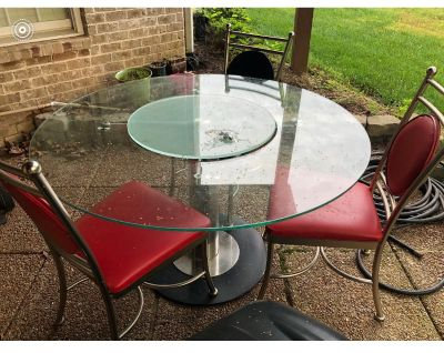 Glass table with built in Lazy Susan