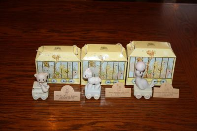 Set Lot of 3 Precious Moments Birthday Train Baby 1st 2nd
