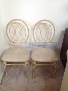 DIY - 2 Cream Metal and Upholstered Side Chairs