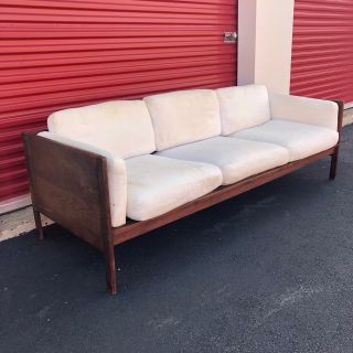Mid century modern long walnut sofa