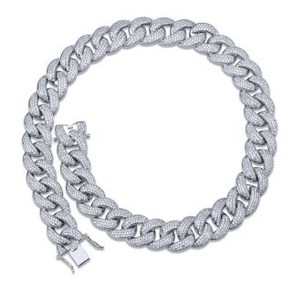"18mm 22""long White Gold Plated cuban link chain"