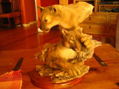 MOUNTAIN LIONS STATUE ( The Lair ) by RANDY READING