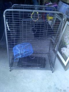 Cage Metal 35 x 25 x 18 some accessories included for bird hamster or other small animals but used for bird