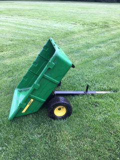 John Deere tractors, baggers, carts, snow / dirt plows etc.