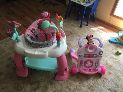 Minnie Mouse exersaucer and walker