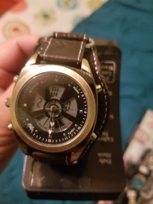 Brown watch with built in alarm and stopwatch