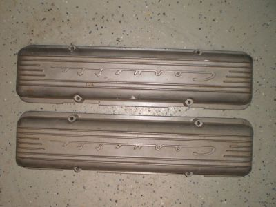 1956 1957 CORVETTE Aluminum 7 Fin Valve Covers 3726086 Staggered RARE 56 59