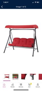 Mainstay Carson creek 3 person swing with canopy red