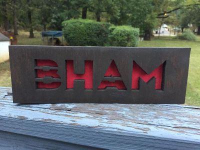 BHAM wood sign w/hanger or magnets