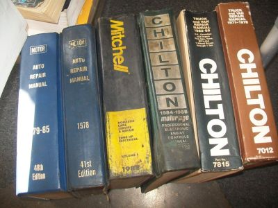 6 LARGE HARDCOVER AUTO REPAIR MANUALS