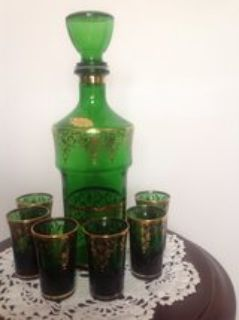 Mid Century Decanter and glasses