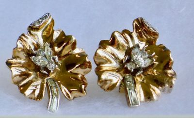 "Crown Trifari ALFRED PHILIPPE ""FLY On LEAF"" Rhinestone Earrings"