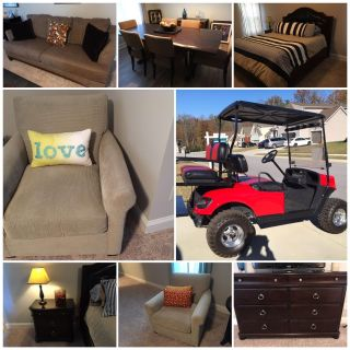 Moving sale: Bedroom Set, dining room set, sofa, chairs and EZ-Go TXT Golf Cart