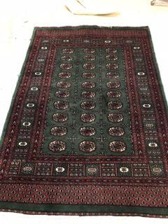Red and green area rug