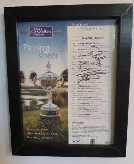 """Bell Canadian Open Signed - Pairing Sheet and Start Times Glen Abbey Golf Club Seot 4 - 2000 10"""" x 13"""" glass and frame Pick-up in Newmarket"""