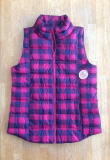 Girls Pink Plaid Puffer Vest by So - size 16