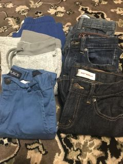 6 pairs of boys pants size 8- Levi s, Chidren s Place, Old Navy