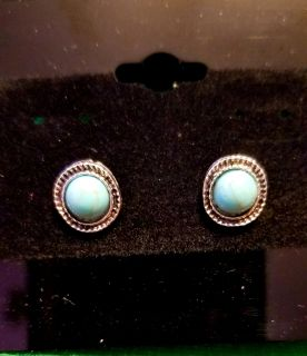 Small Round Turquoise Post Earrings New