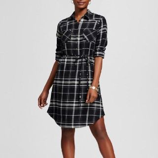CUTE BLACK AND WHITE CHECK FLANNEL DRESS