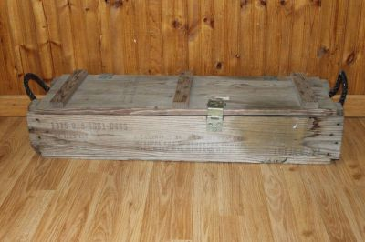 Vintage Ammo Box Crate Large Storage Bin Wood Military Collection.