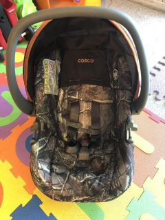 Camo car seat, base and stroller combo.
