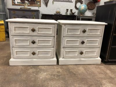 Two antique white nightstands