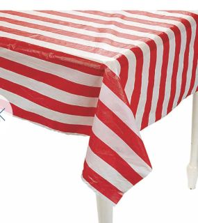 Brand new Carnival or 4th of July theme red / white tablecloth 100ft