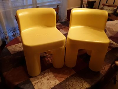 2 vintage toddler chairs.