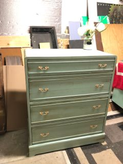 """GORGEOUS ANTIQUE Dresser with 4 drawers-34""""x42""""x19""""- refinished in green antique with brown- Solid Wood-145$"""