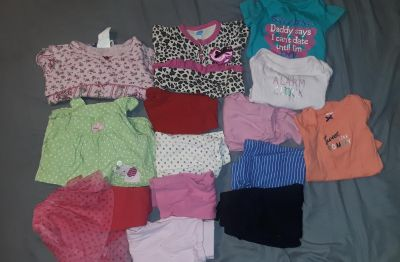 All size 6-9mos. 2 shirts, 3 onesies, 1 pair of overalls and 8 pairs of pants.
