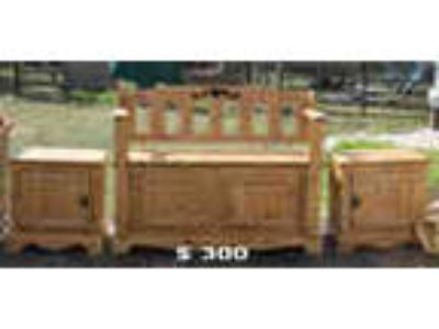 New Custom Made Rustic Patio Bench Set W 2 End Tables Solid Wood