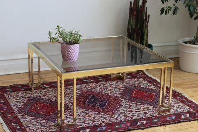 Vintage Brass and Glass Square Coffee Table