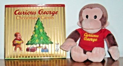 "NEW Curious George Christmas Carols Book CD 12"" Plush Doll Lot Hard Cover w Dust Jacket"