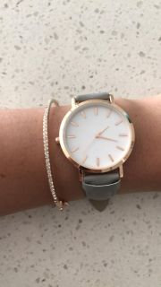 Rose gold and grey leather watch