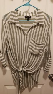 Long Sleeve sheer striped blouse