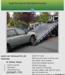 We buy junk cars/ all makes and models