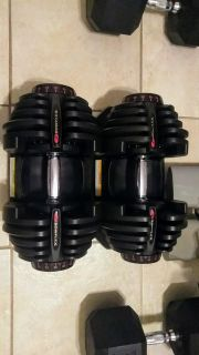Bowflex 90 lb adjustable dumbbells weights $475 not all chopped up like most you see for sale