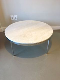 Solid marble round coffee conversation table