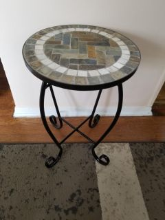 BEAUTIFUL METAL AND STONE TABLE.