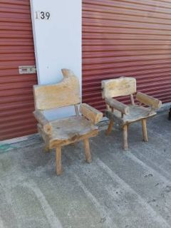 2 Rustic His And Hers Chairs ( Solid Wood )