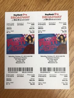 On Your Feet Tickets $35 ea