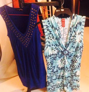 Ladies tops sleeveless and s/s. Sizes 10-12. Also activewear s/s tops size large