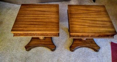 Vintage maple decorative side tables in perfect condition. Size is 18 by 18 by 18. They have scrolled wood on the front and the top shows th