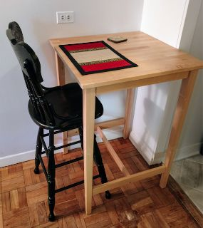 Black Barstool With Backrest (Real Wood)