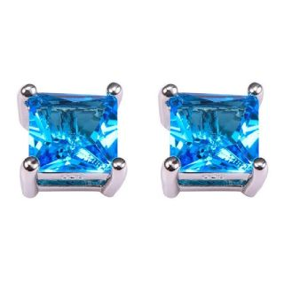 Princess-Cut Blue Topaz Quartz Stud Earrings