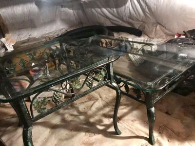 Iron and Glass coffee table, end table and Bakers Rack